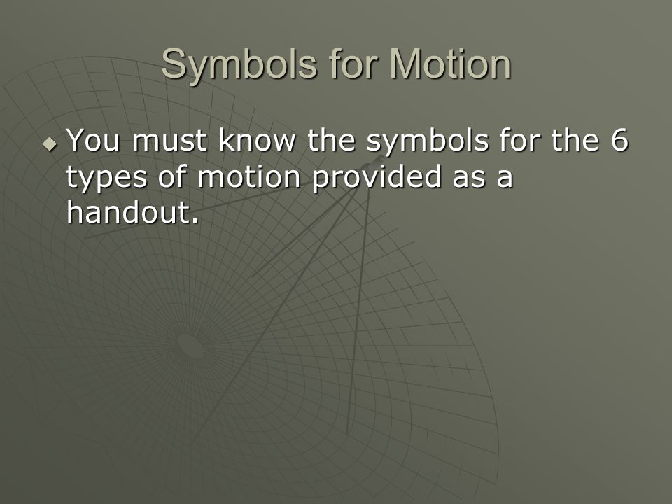 Symbols for Motion You must know the symbols for the 6 types of motion provided as a handout.