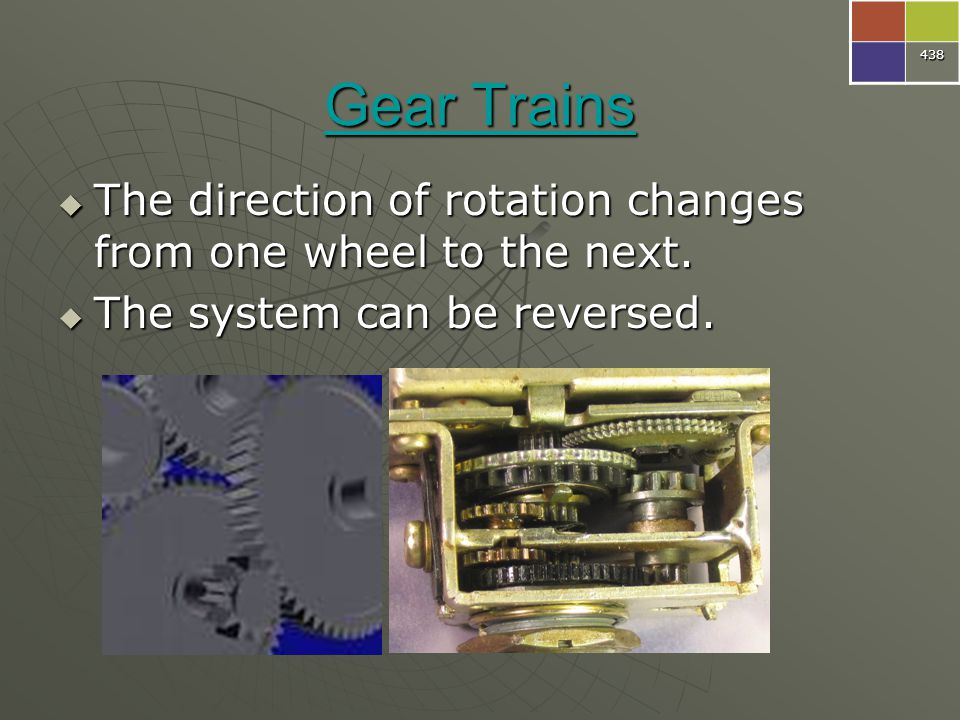 438 Gear Trains. The direction of rotation changes from one wheel to the next.