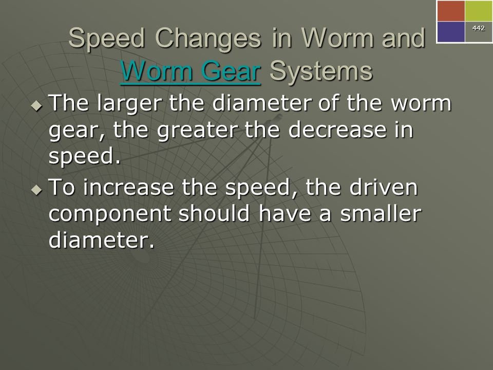 Speed Changes in Worm and Worm Gear Systems