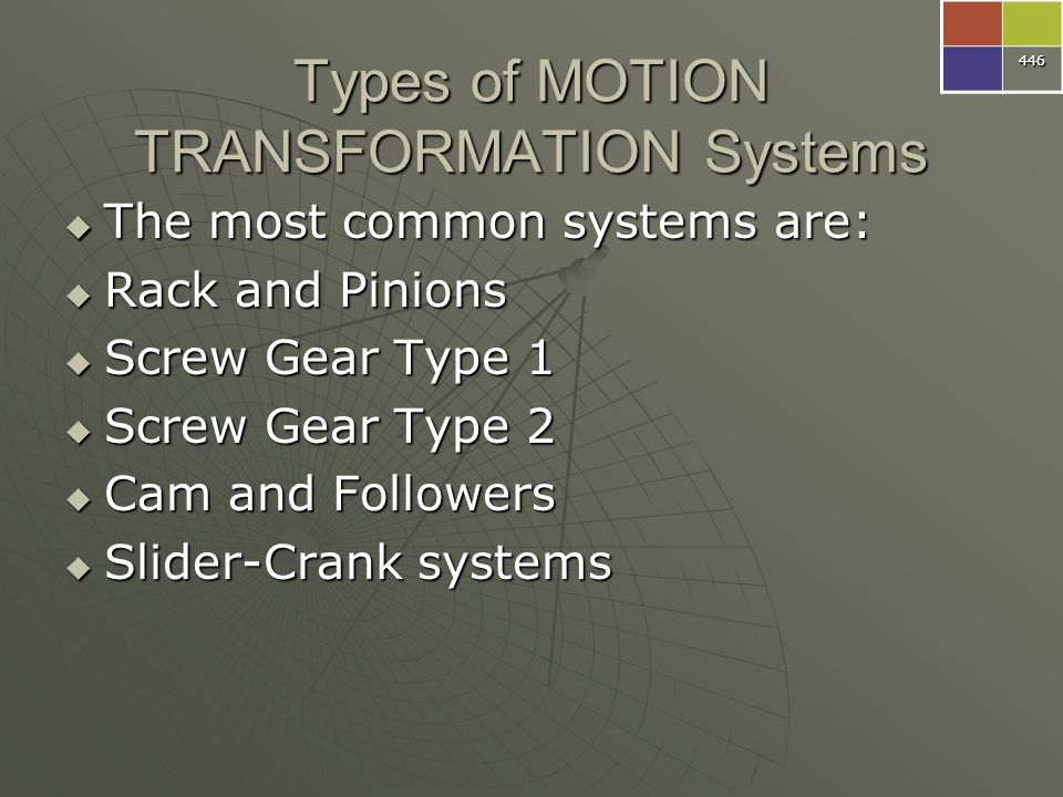 Types of MOTION TRANSFORMATION Systems