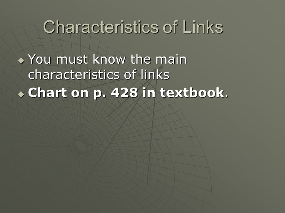 Characteristics of Links