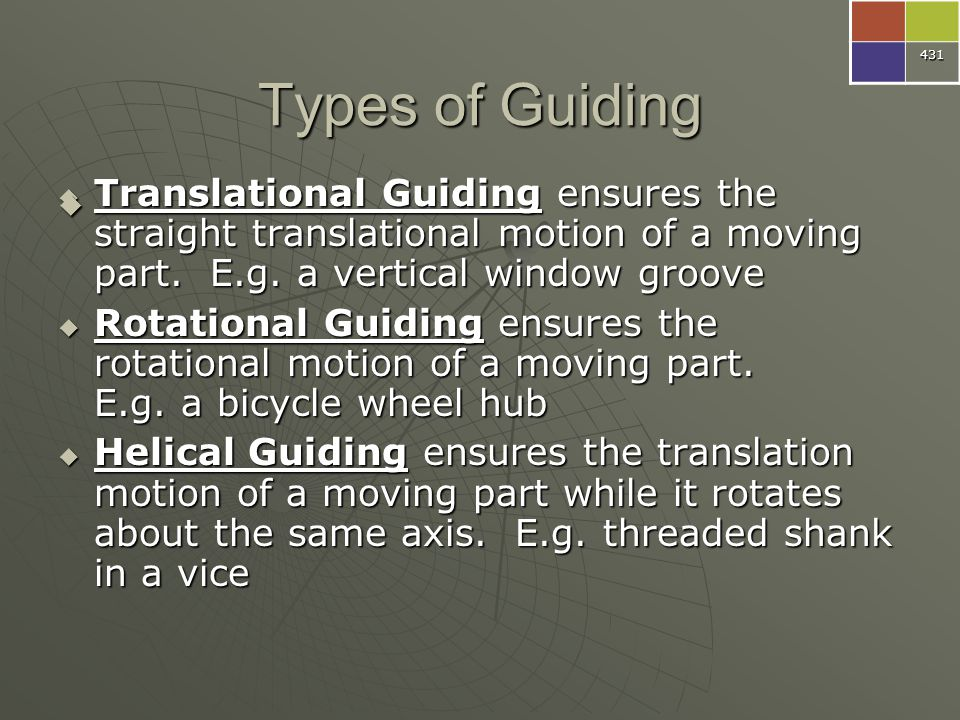 431 Types of Guiding. Translational Guiding ensures the straight translational motion of a moving part. E.g. a vertical window groove.