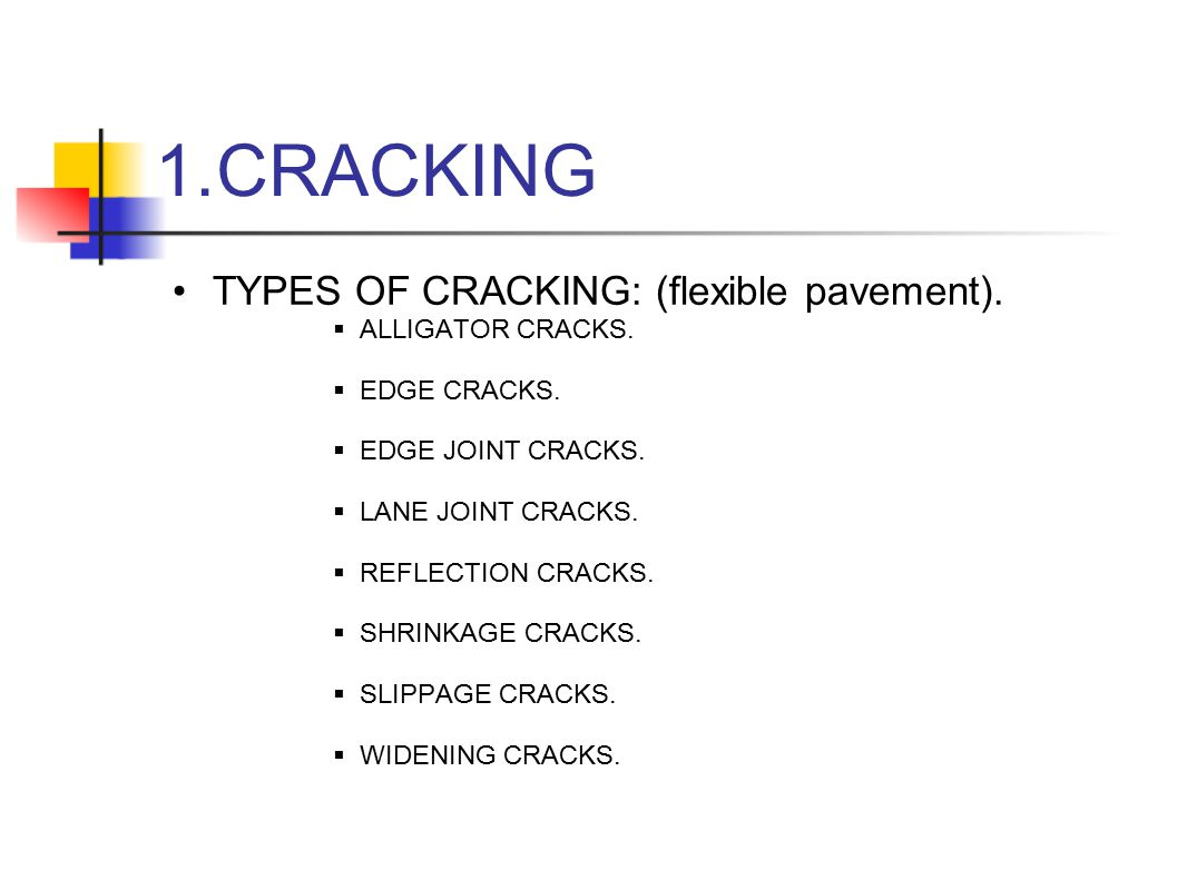 CRACKING TYPES OF CRACKING: (flexible pavement). ALLIGATOR CRACKS.