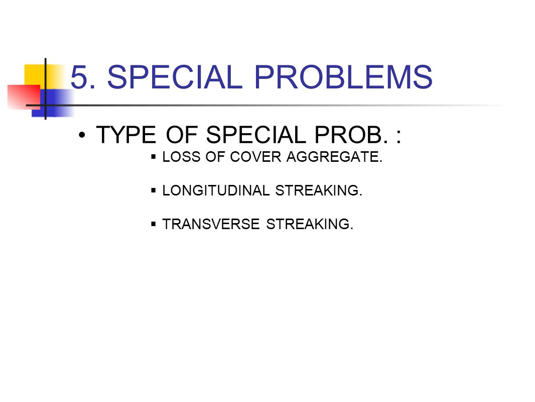 5. SPECIAL PROBLEMS TYPE OF SPECIAL PROB. : LOSS OF COVER AGGREGATE.