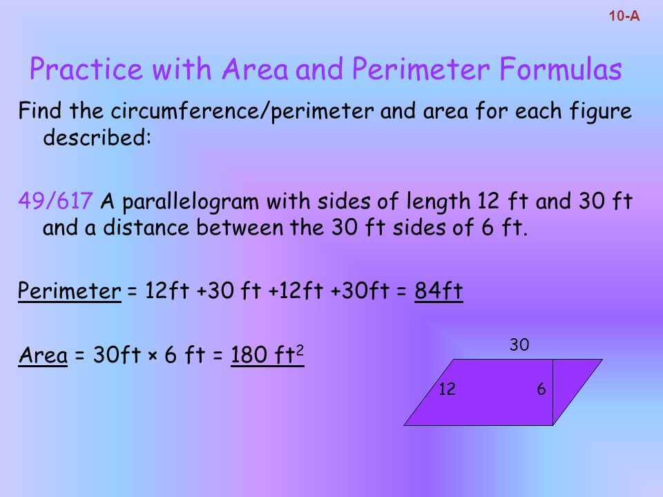 Practice with Area and Perimeter Formulas