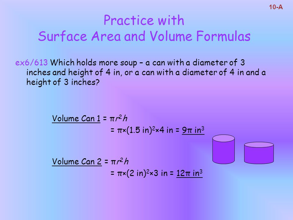 Practice with Surface Area and Volume Formulas