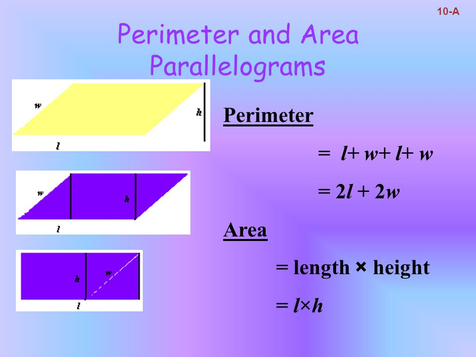 Perimeter and Area Parallelograms