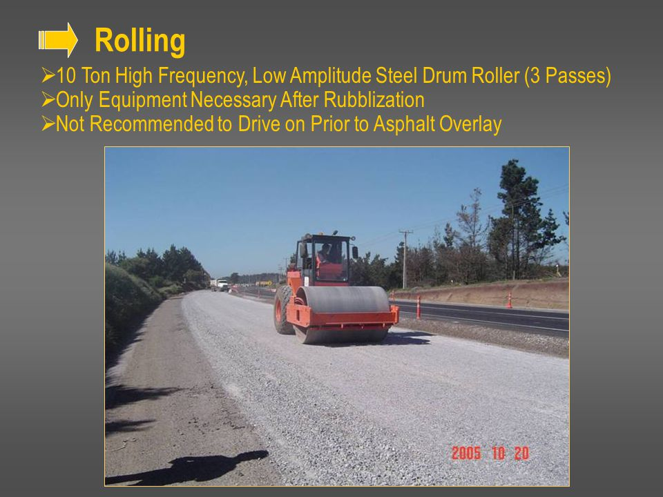 Rolling 10 Ton High Frequency, Low Amplitude Steel Drum Roller (3 Passes) Only Equipment Necessary After Rubblization.