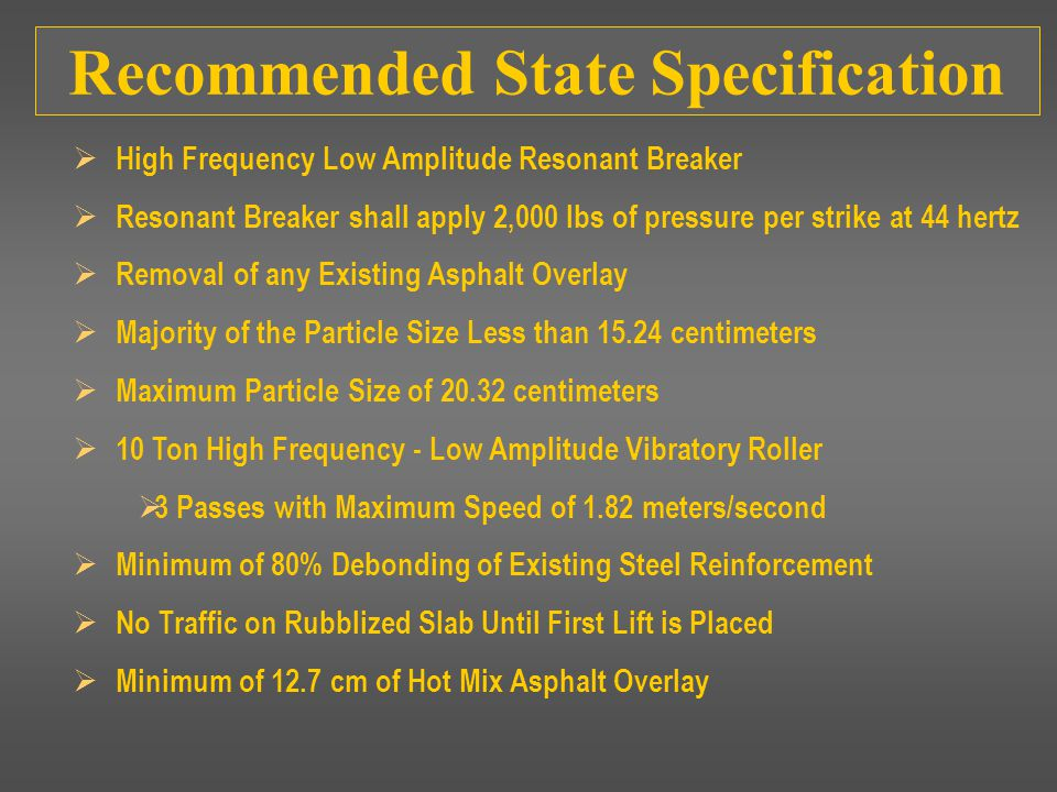 Recommended State Specification