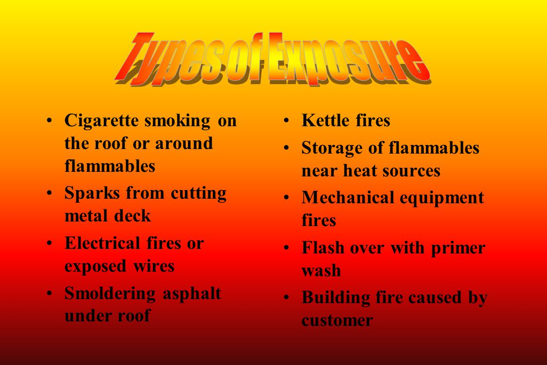 Types of Exposure Cigarette smoking on the roof or around flammables