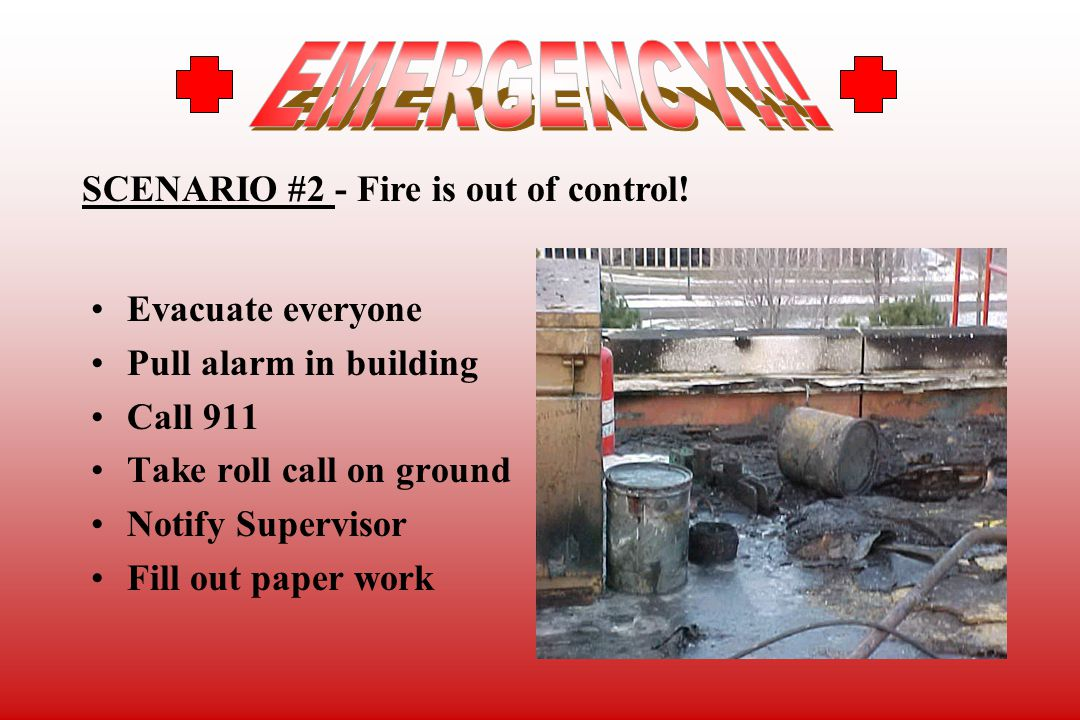 EMERGENCY!!! SCENARIO #2 - Fire is out of control! Evacuate everyone