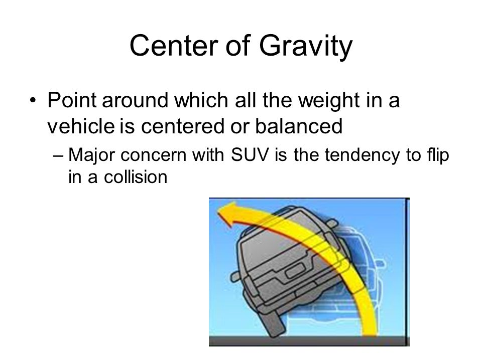 Center of Gravity Point around which all the weight in a vehicle is centered or balanced.