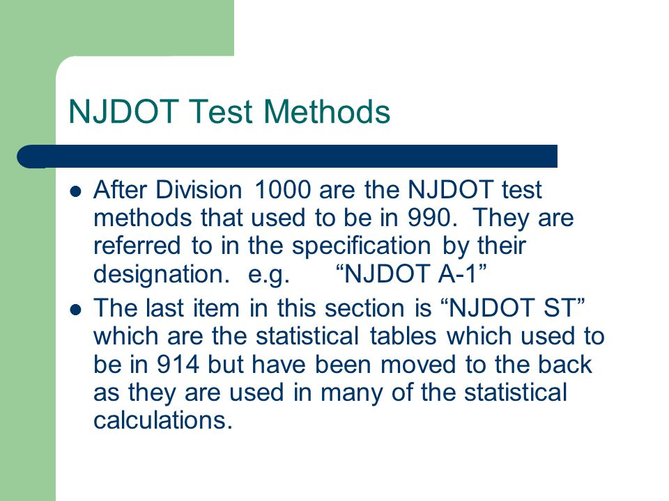 NJDOT Test Methods