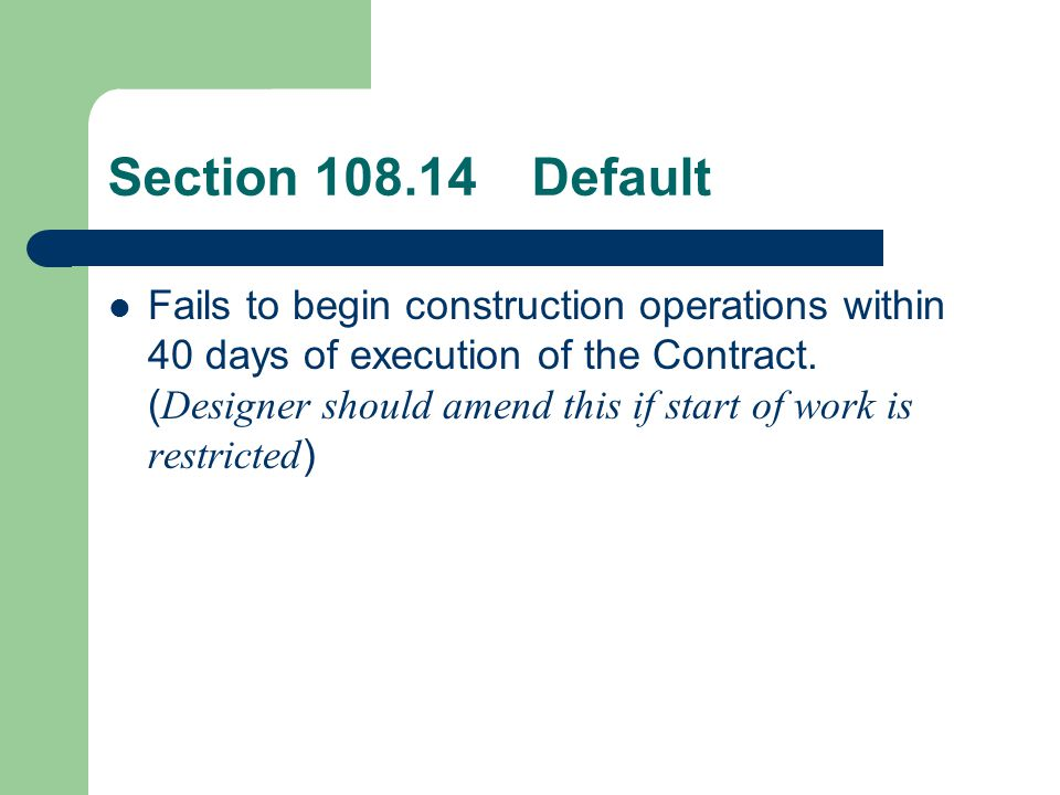 Section 108.14 Default