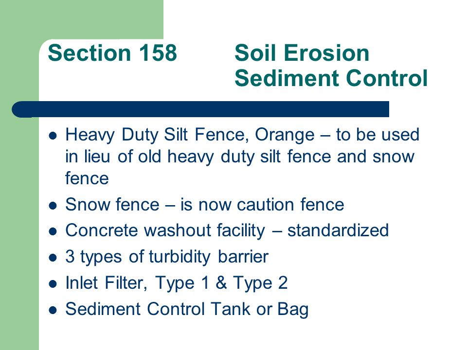 Section 158 Soil Erosion Sediment Control