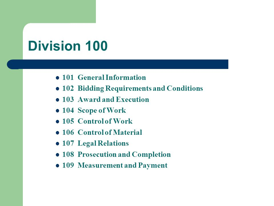 Division 100 101 General Information