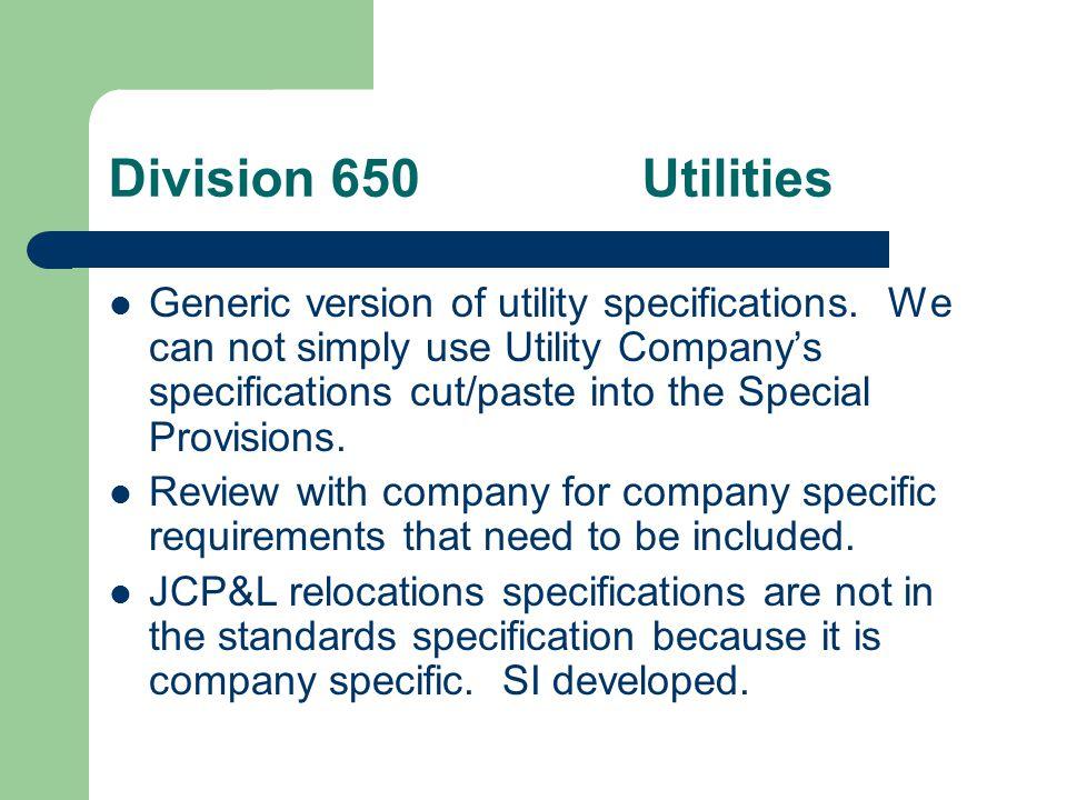Division 650 Utilities