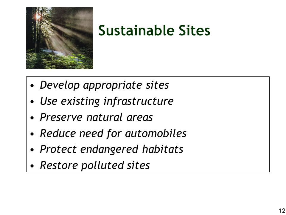 Sustainable Sites Develop appropriate sites