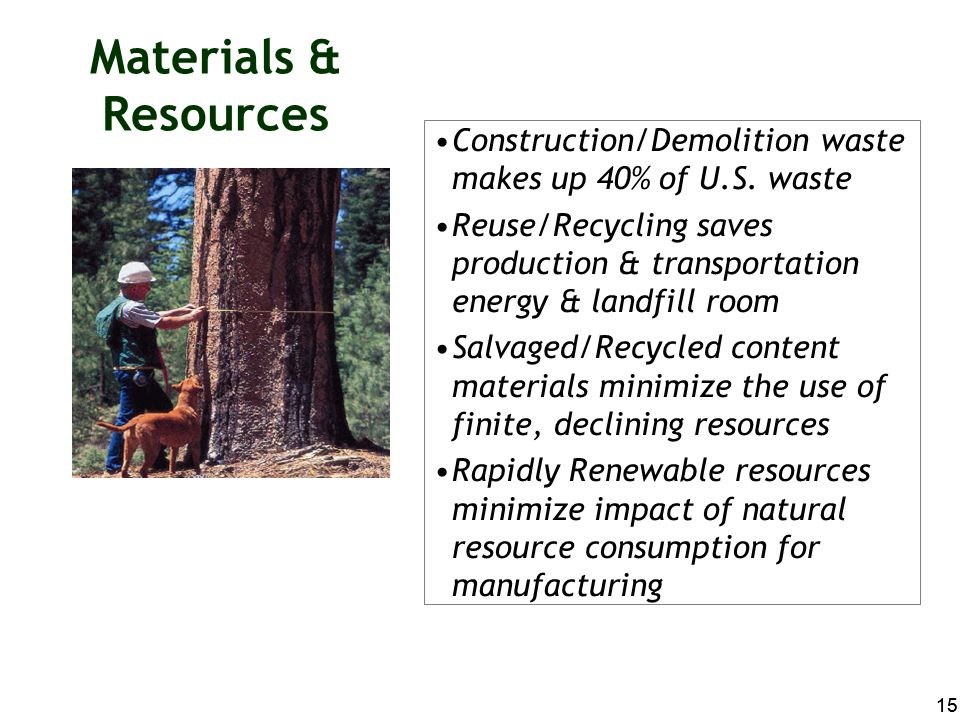 Materials & Resources Construction/Demolition waste makes up 40% of U.S. waste.
