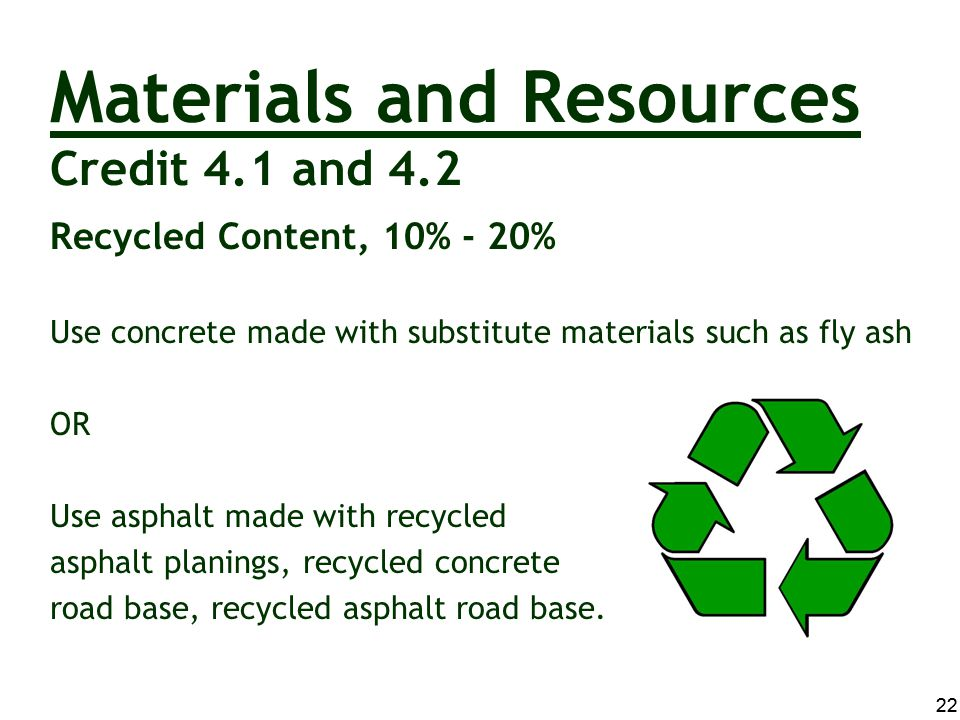 Materials and Resources Credit 4.1 and 4.2