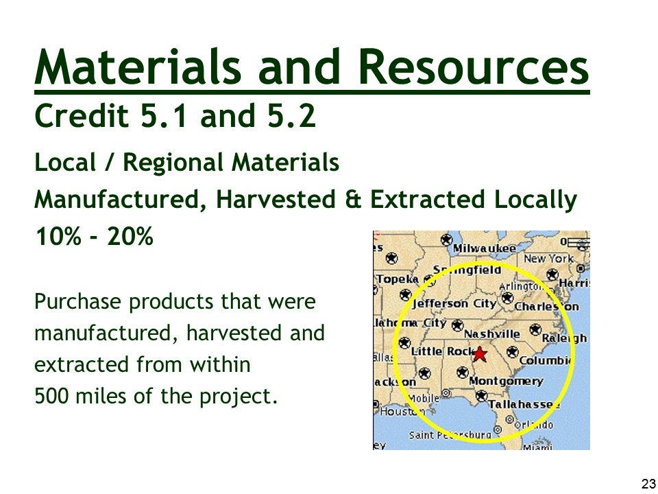 Materials and Resources Credit 5.1 and 5.2