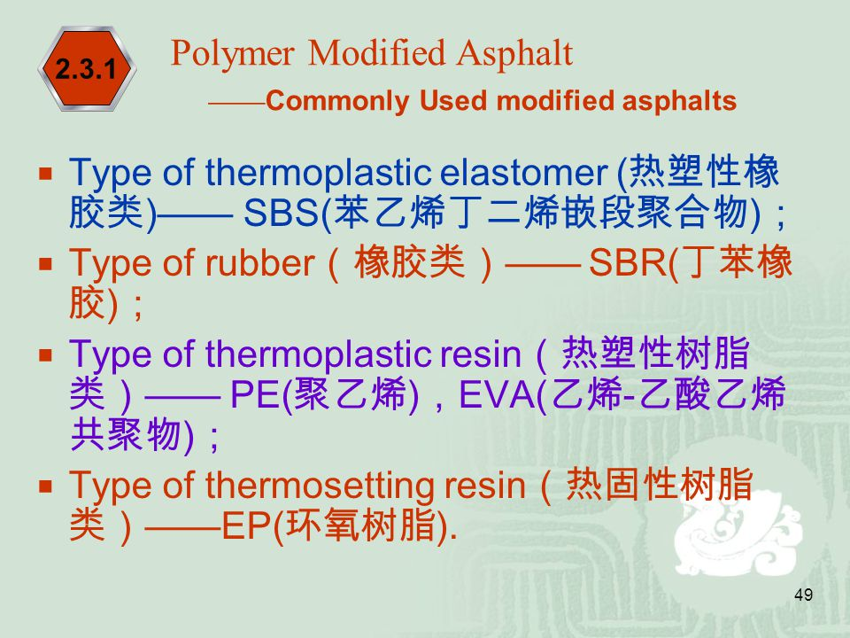 Polymer Modified Asphalt ——Commonly Used modified asphalts