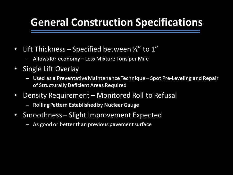 General Construction Specifications