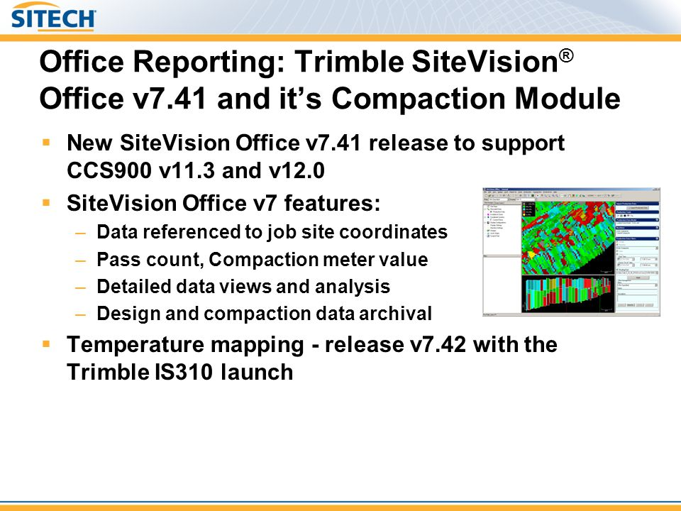 Office Reporting: Trimble SiteVision® Office v7