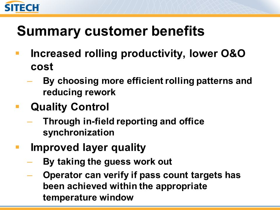 Summary customer benefits