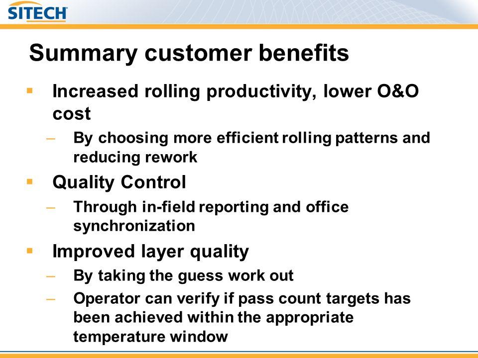 Summary customer benefits