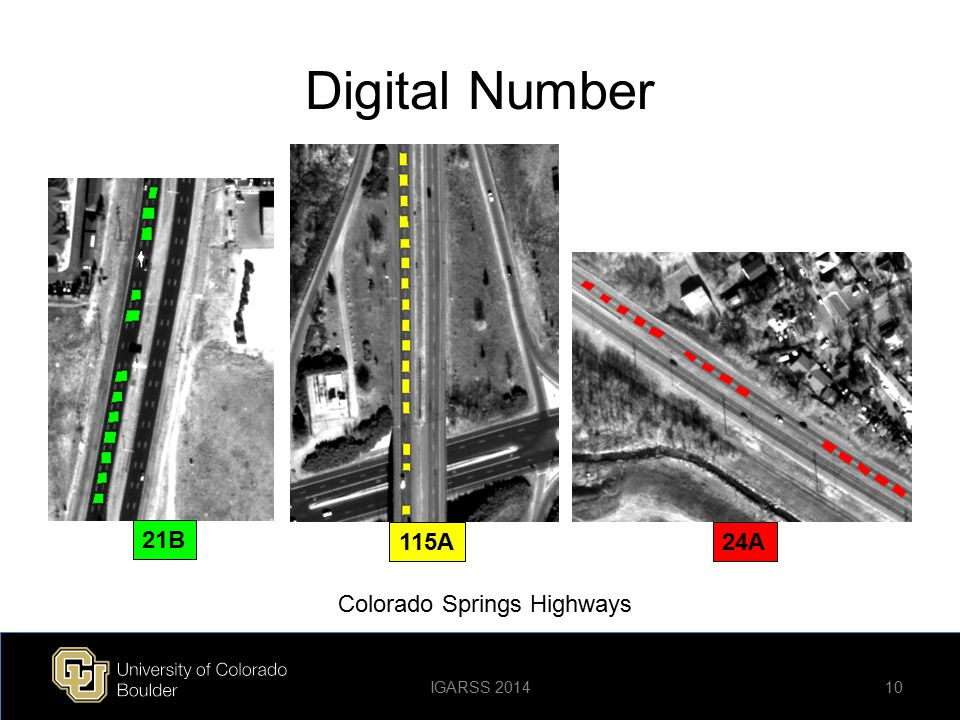 Digital Number 21B 115A 24A Colorado Springs Highways IGARSS 2014