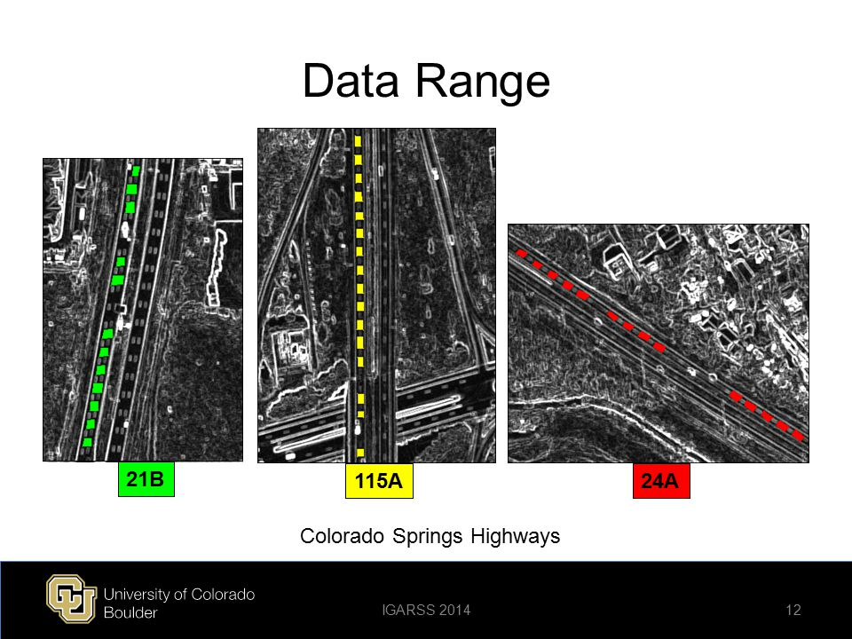 Data Range 21B 115A 24A Colorado Springs Highways IGARSS 2014