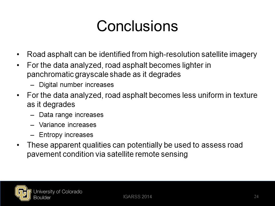 Conclusions Road asphalt can be identified from high-resolution satellite imagery.