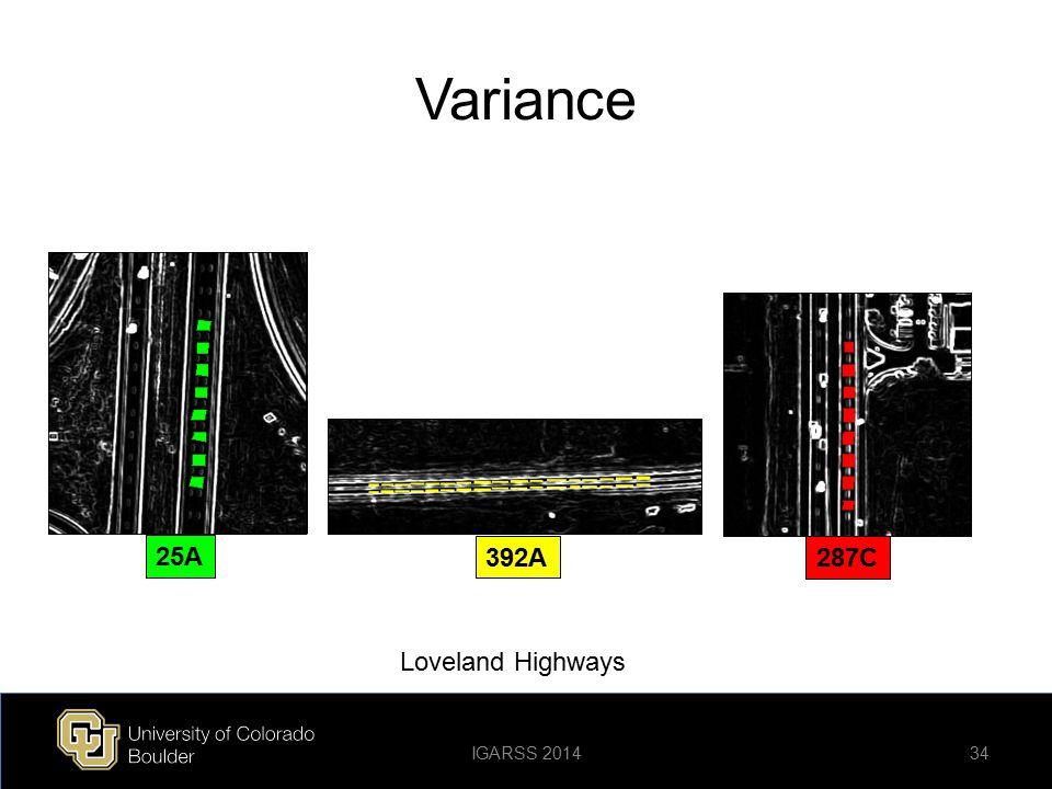 Variance 25A 392A 287C Loveland Highways Loveland Highways IGARSS 2014