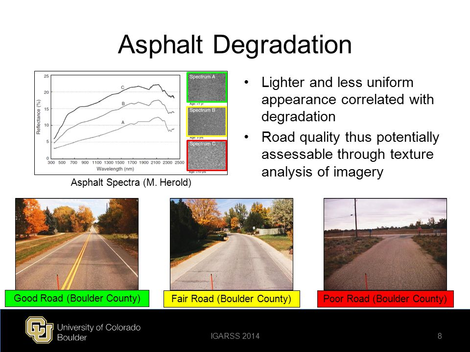 Asphalt Degradation Lighter and less uniform appearance correlated with degradation.