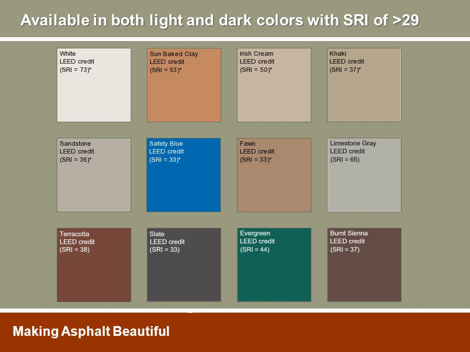 Available in both light and dark colors with SRI of >29