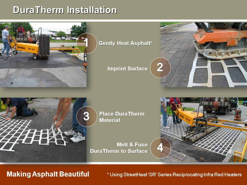 1 2 3 4 DuraTherm Installation Gently Heat Asphalt¹ Imprint Surface