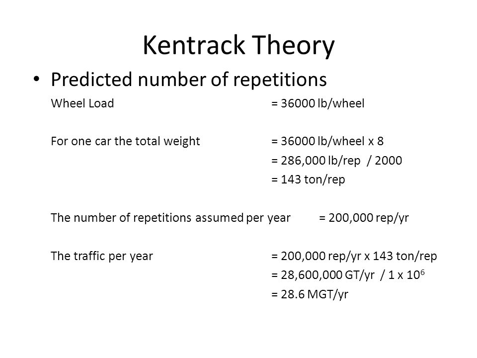 Kentrack Theory Predicted number of repetitions