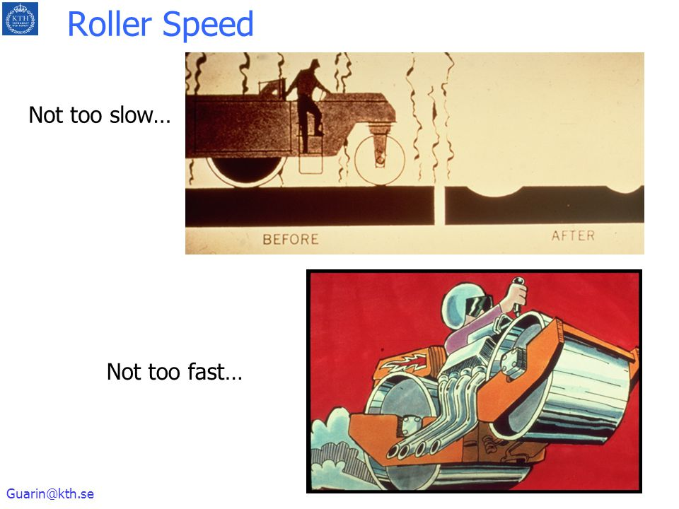 Roller Speed Not too slow… Not too fast…