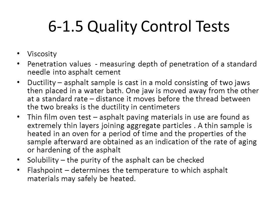 6-1.5 Quality Control Tests