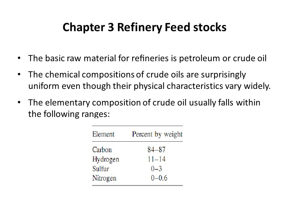 Chapter 3 Refinery Feed Stocks Ppt Video Online Download