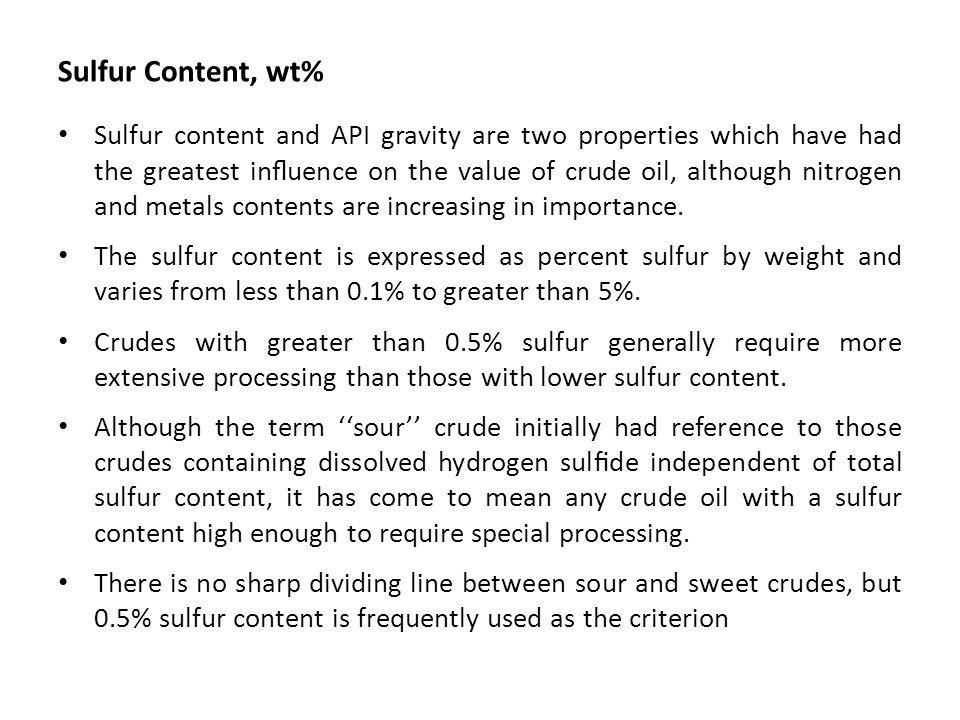 Sulfur Content, wt%