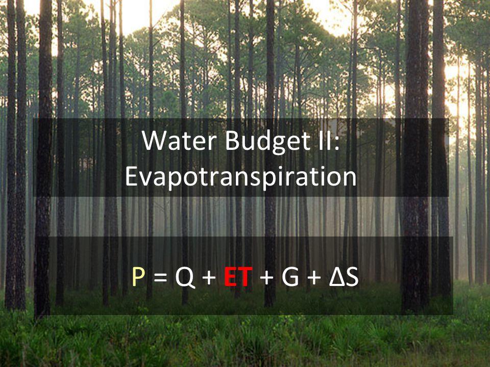 Water Budget II: Evapotranspiration