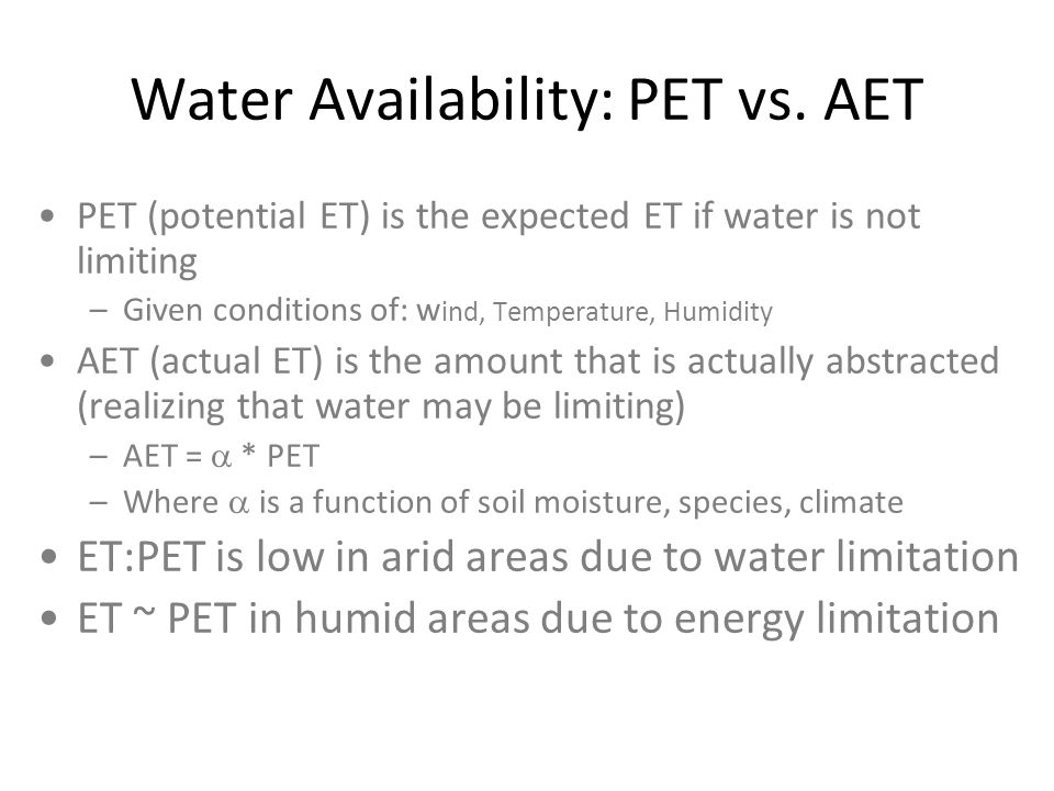 Water Availability: PET vs. AET