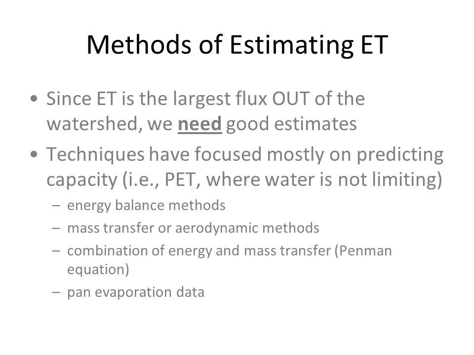 Methods of Estimating ET