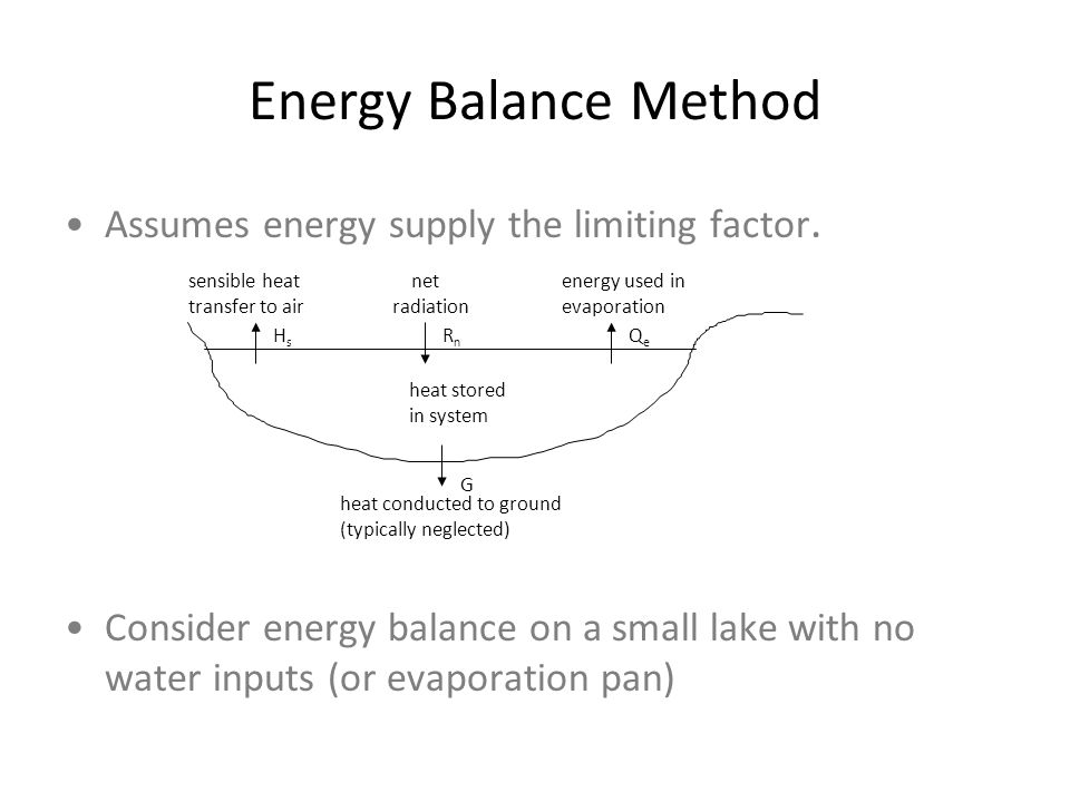 Energy Balance Method Assumes energy supply the limiting factor.