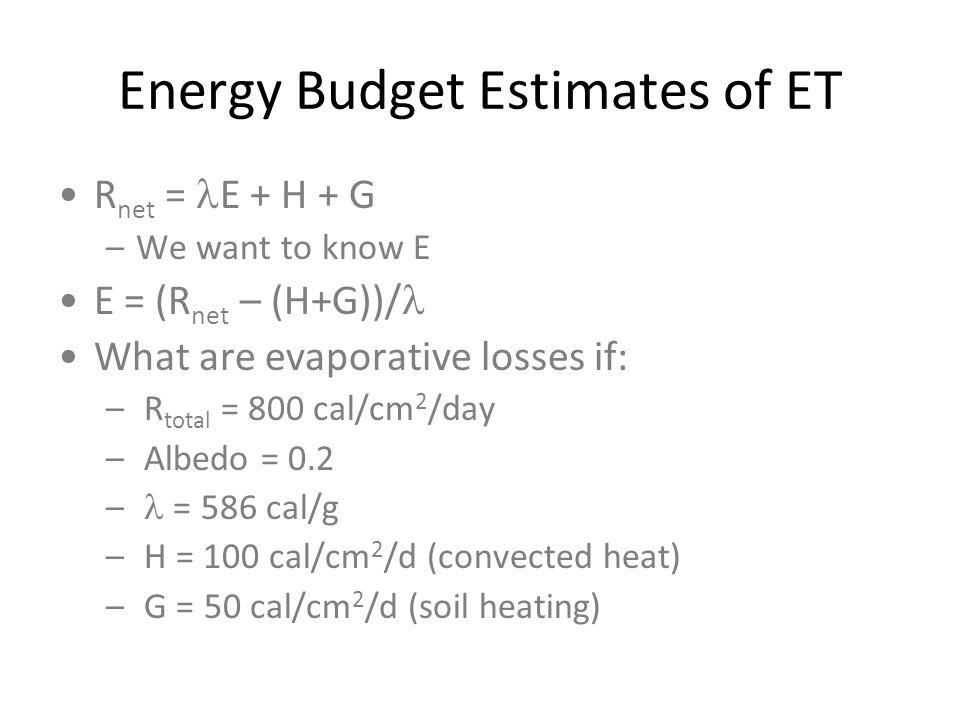 Energy Budget Estimates of ET