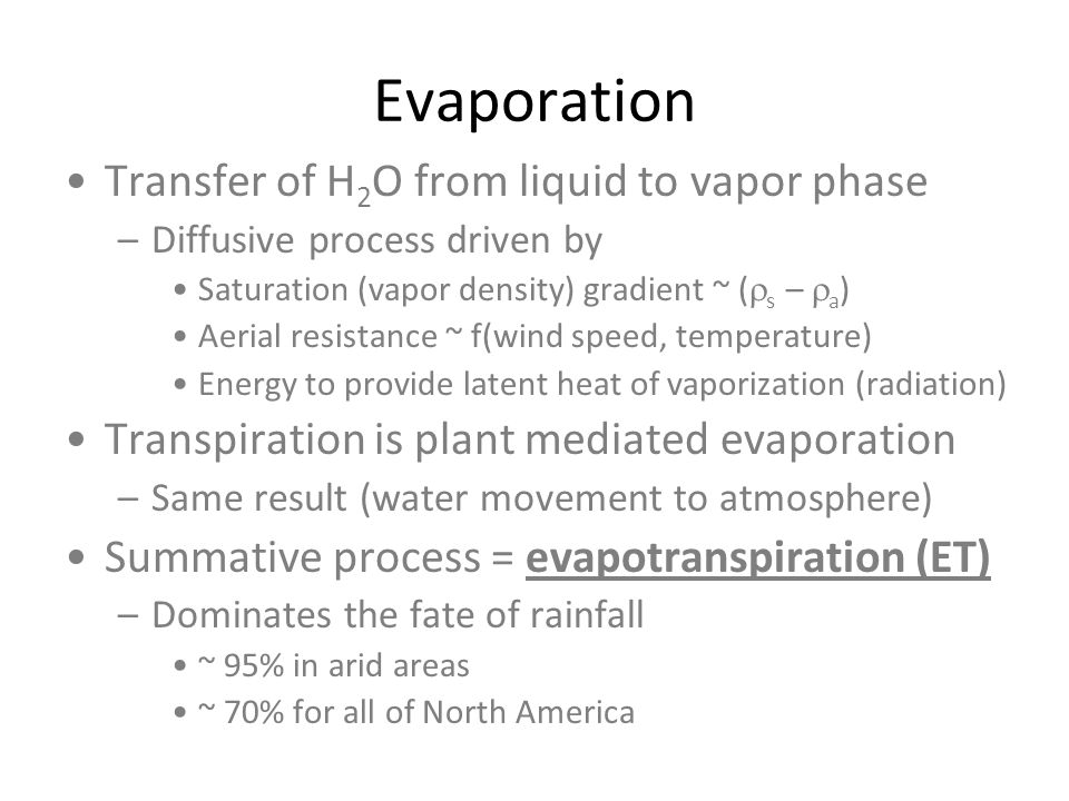 Evaporation Transfer of H2O from liquid to vapor phase