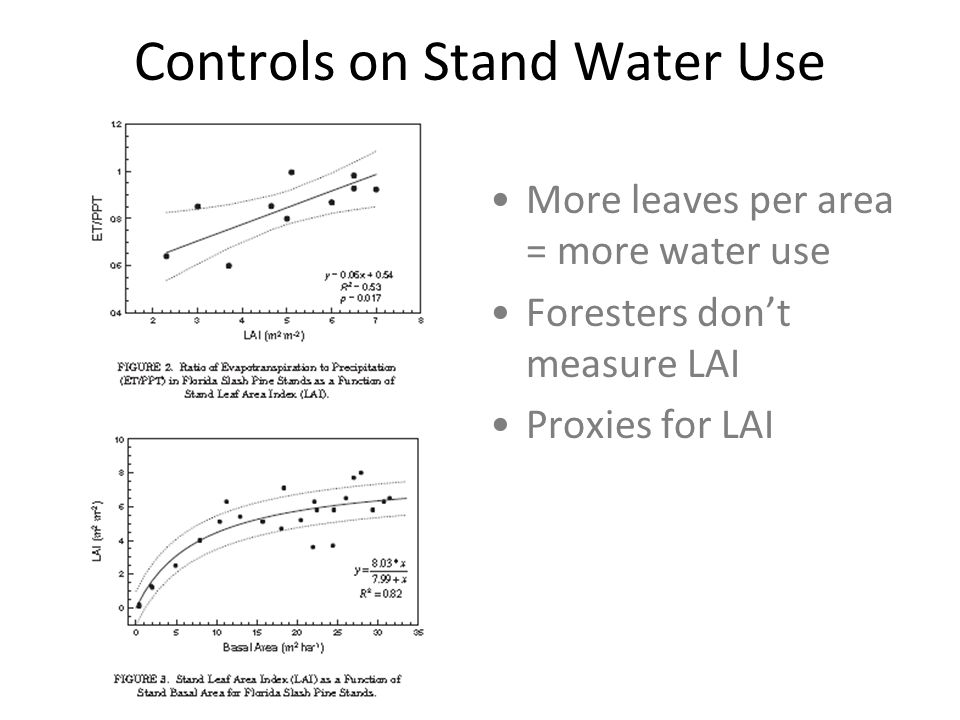 Controls on Stand Water Use