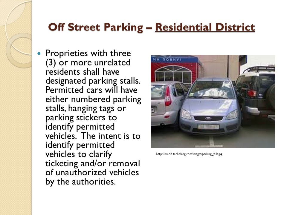 Off Street Parking – Residential District